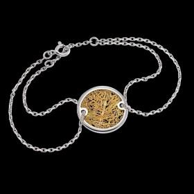 Bracelet Soie d'or rond bicolore