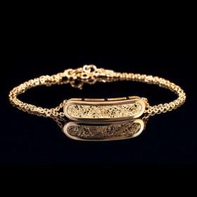 Bracelet Soie d'or ovale