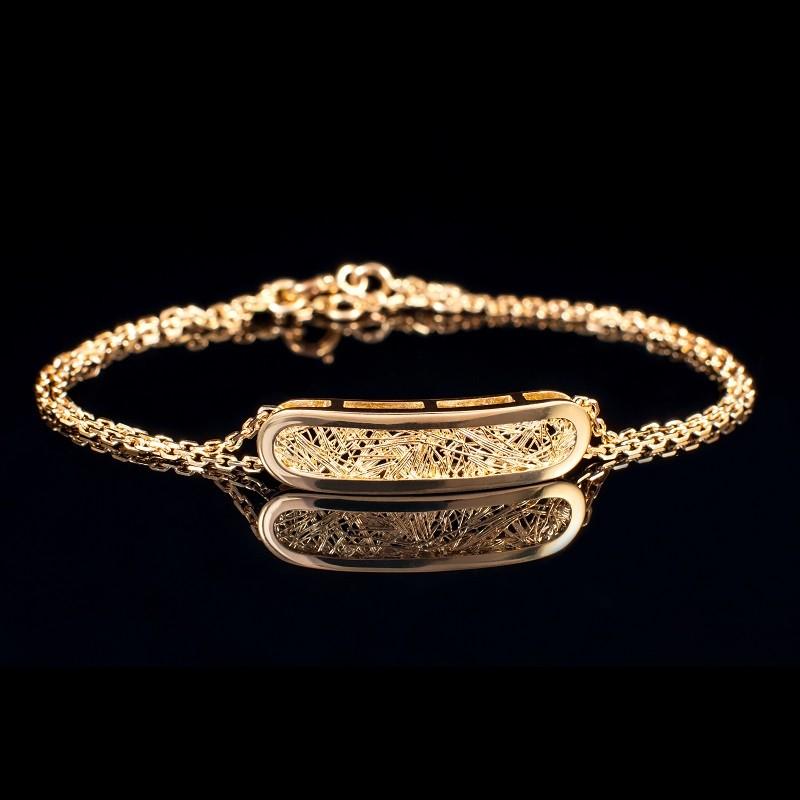 Bracelet femme or jaune Soie d'or ovale