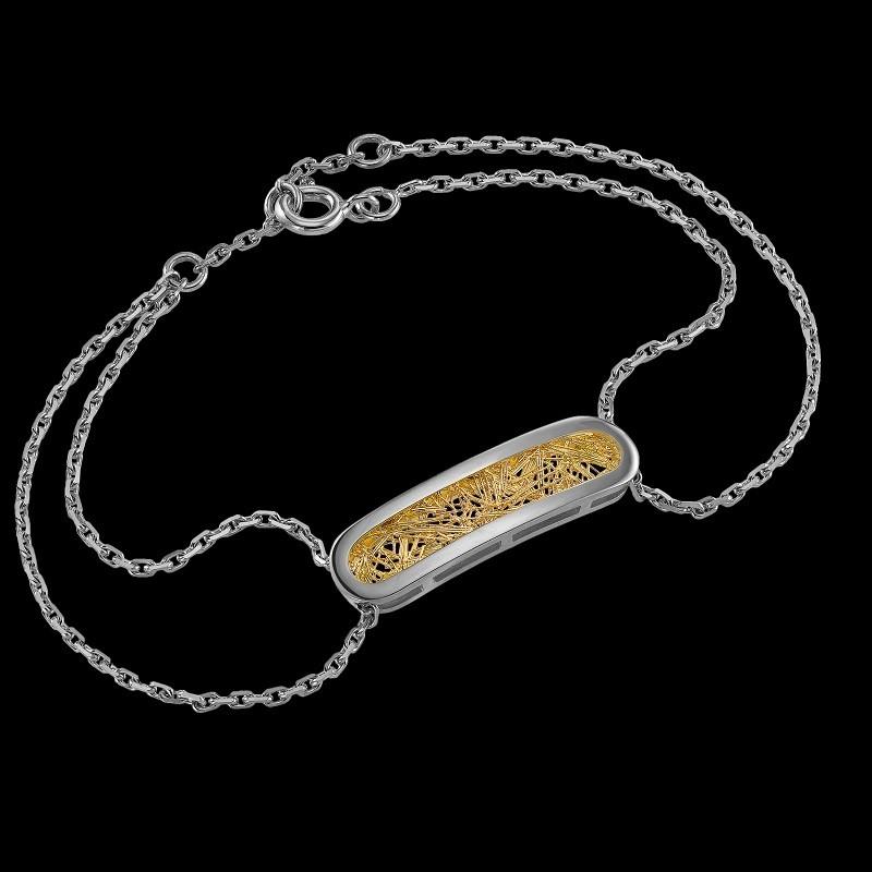 Bracelet Soie d'or ovale bicolore