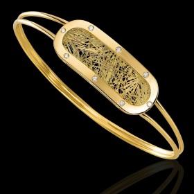 Bracelet Soie d'Or ovale empierré
