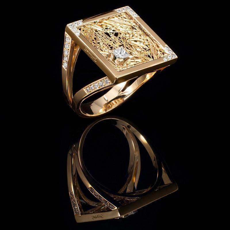 Bague Soie d'Or carrée