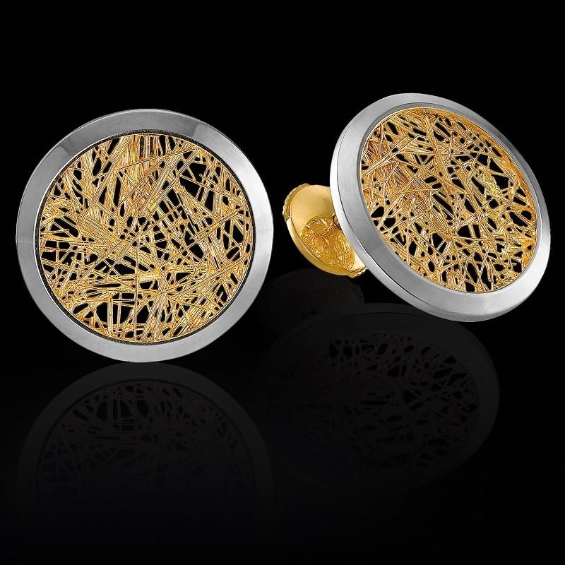 Boucle d'oreille Soie d'Or ronde bicolore