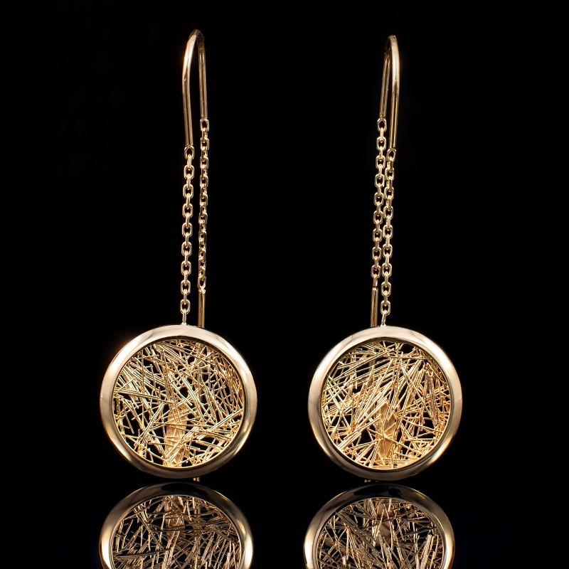 Boucle d'oreille femme or Soie d'or ronde pendante