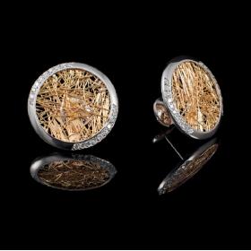 Boucles d'oreilles ronde Soie d'Or serties, bicolore