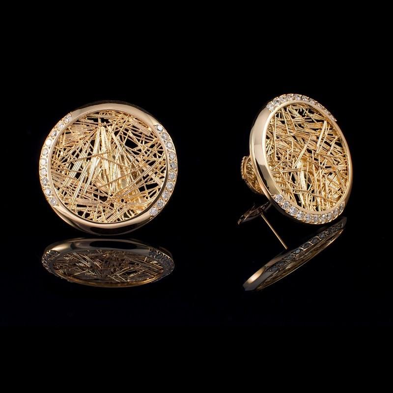 Boucle d'oreille femme or jaune et diamants ronde Soie d'Or serties