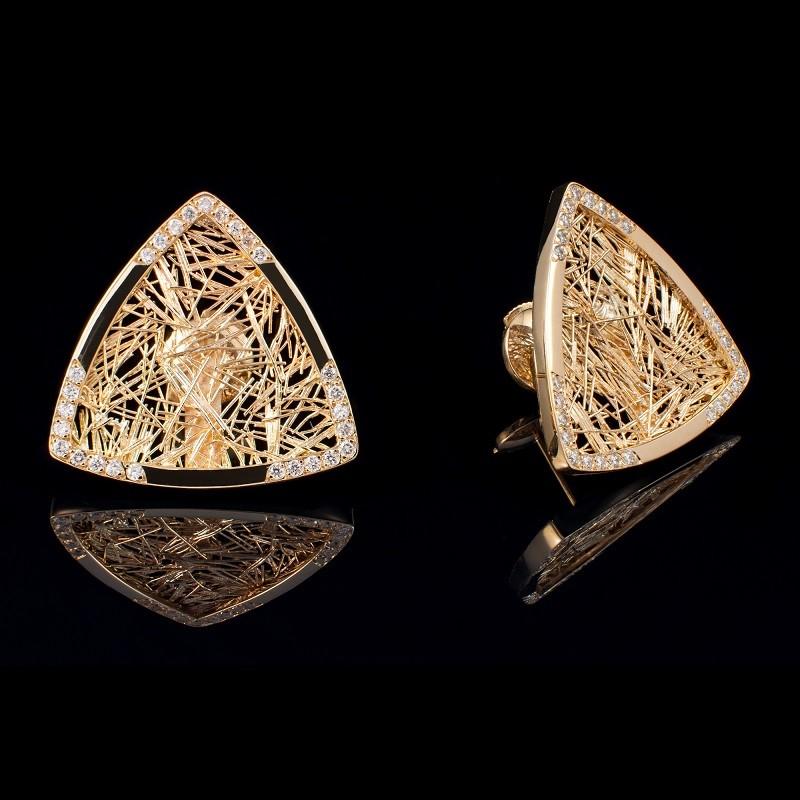 Boucle d'oreille troïda Soie d'Or serties