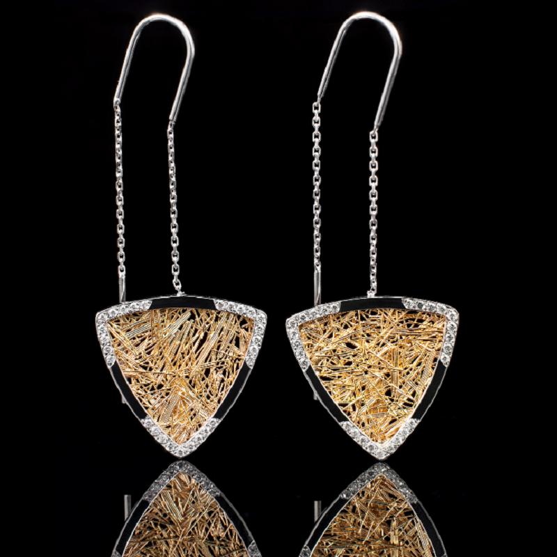 Boucle d'oreille femme or et diamants troïda bicolore Soie d'Or serties