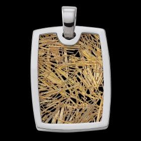 Pendentif Soie d'or tonneau bicolore
