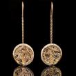 Boucle d'oreille femme or blanc diamants ronde bicolore Soie d'Or serties