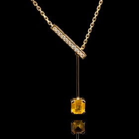 Collier saphir jaune femme or jaune et diamants Moovys