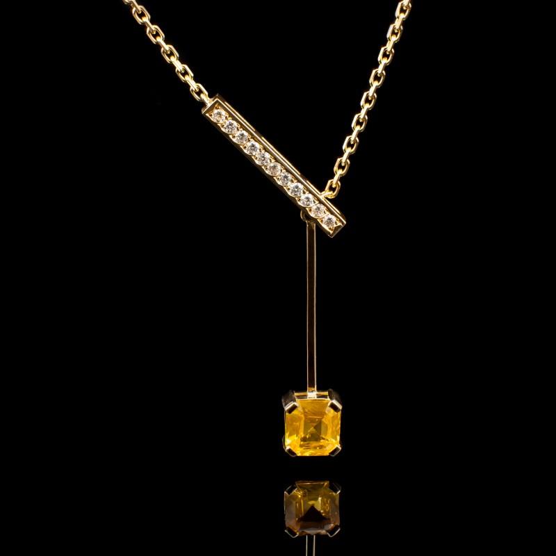 Collier saphir jaune femme or jaune et diamants Moovys