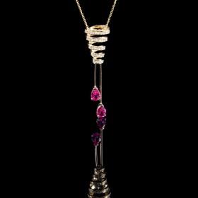 Collier tourmaline rose femme or rose et diamants infiniment spinelle