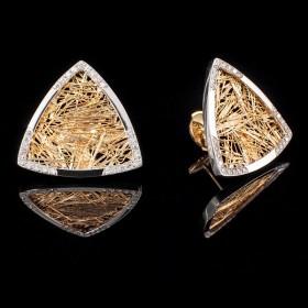 Boucle d'oreille troïda bicolore Soie d'Or serties