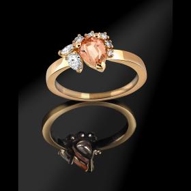 Bague topaze femme or jaune et diamants Aube scintillante