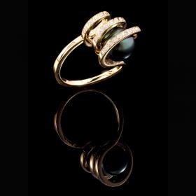 Bague perle de Tahiti or jaune et diamants bague Infini