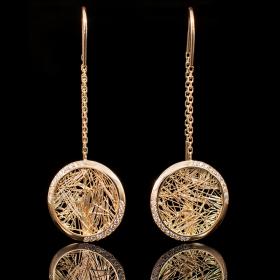 Boucles d'oreilles ronde Soie d'Or serties
