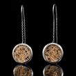 Boucle d'oreille femme or blanc Soie d'or ronde pendante bicolore