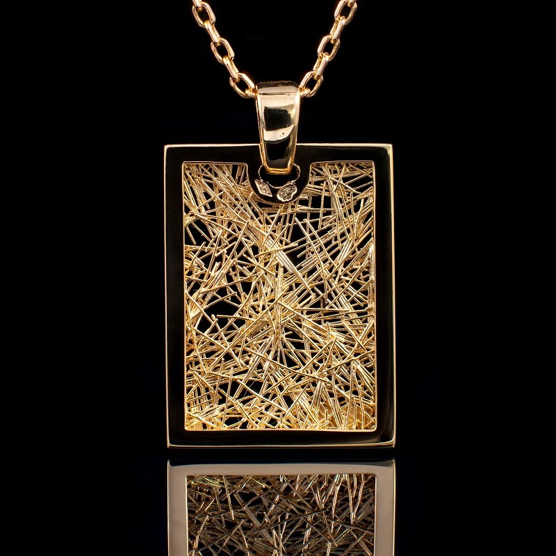 Pendentif Soie d'Or rectangle