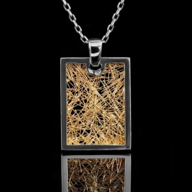 Pendentif Soie d'Or rectangle bicolore