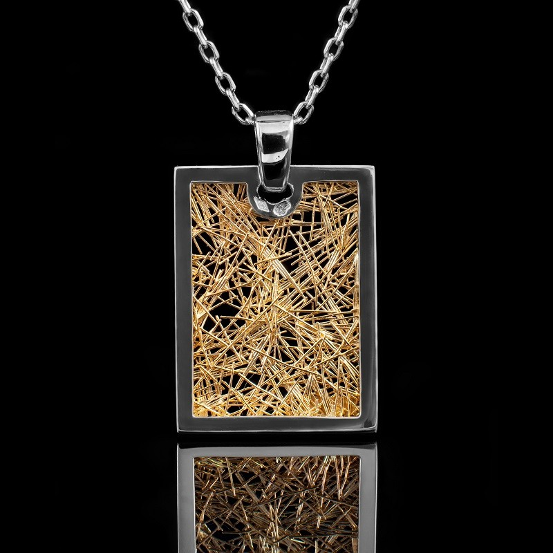 Pendentif homme or jaune et or blancSoie d'Or rectangle
