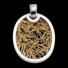 Pendentif Soie d'Or ovale bicolore