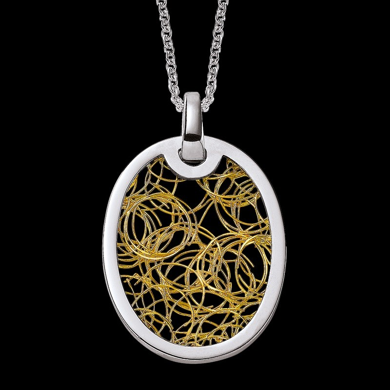 Pendentif femme ovale Soie d'Or rondeur blanc or jaune