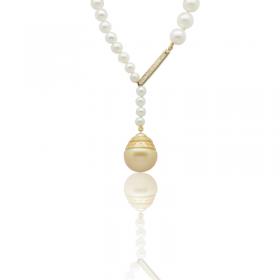 Collier perles de culture or et diamants