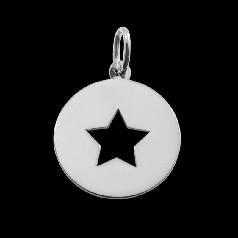 Médaille de baptême or blanc Little star