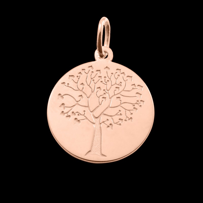 Médaille de baptême or rose Arbre de vie