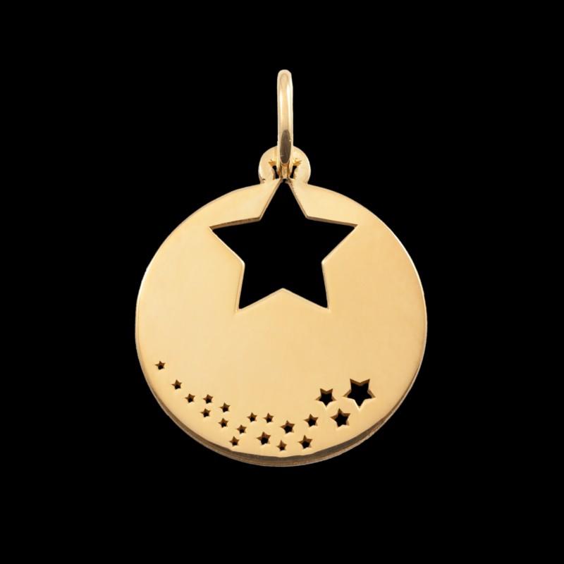Médaille de baptême or jaune Pluie d'étoile