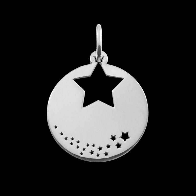 Médaille de baptême or blanc Pluie d'étoile