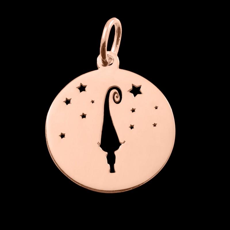 Médaille de baptême or rose Mon petit lutin