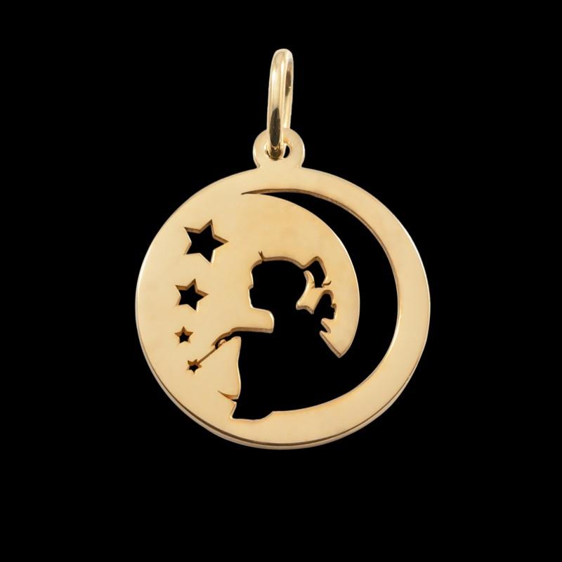 Médaille de baptême or jaune fée