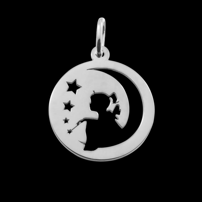 Médaille de baptême or blanc fée