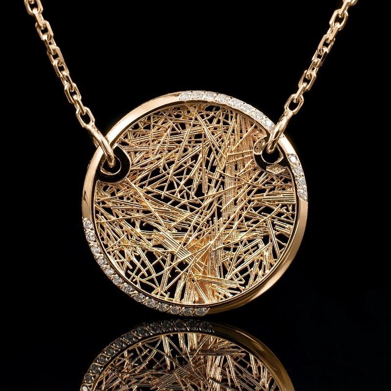 Collier femme or jaune et diamants Soie d'Or rond