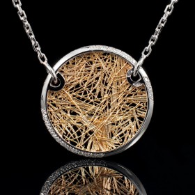Collier Soie d'Or rond bicolore empierré
