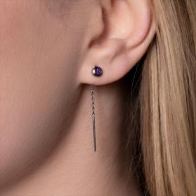 Boucles d'oreilles Améthystes femme or blanc colorys
