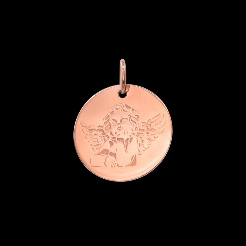 Médaille de baptême or rose Angelo