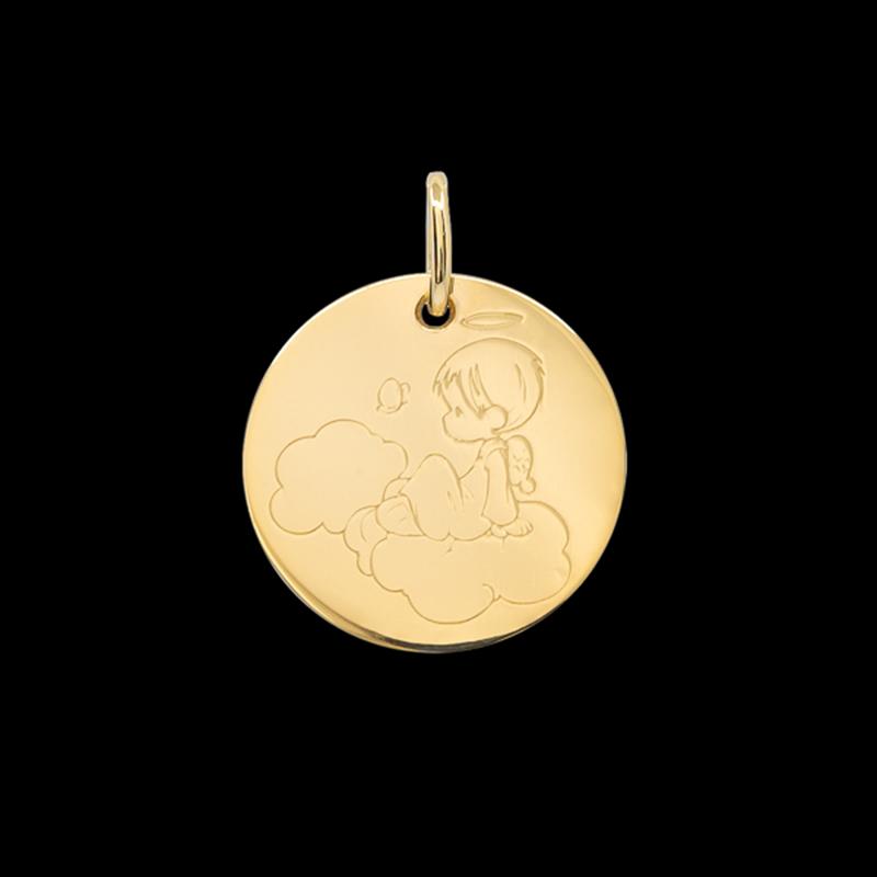 Médaille de baptême or jaune Petit ange