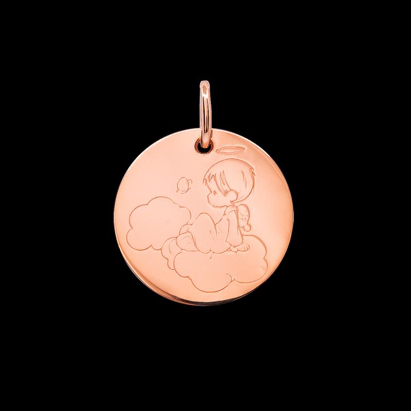 Médaille de baptême or rose Petit ange