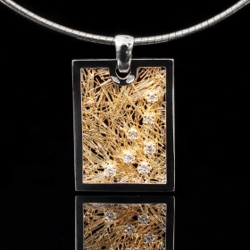 Pendentif Effervescence Soie d'or rectangle bicolore