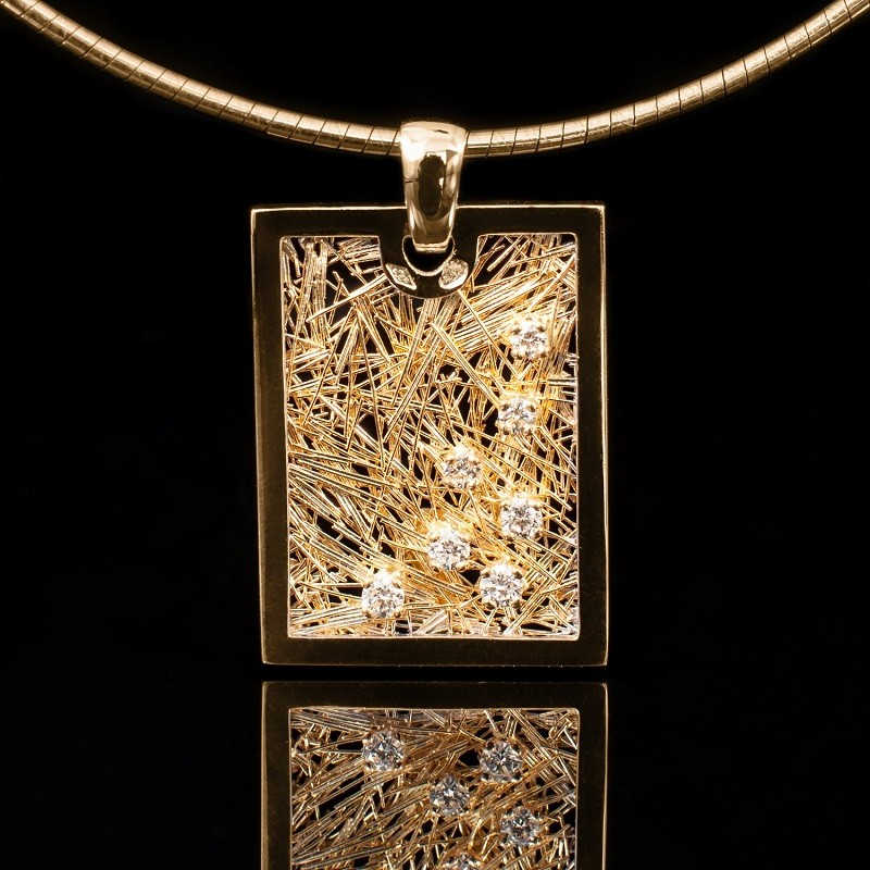 Pendentif Effervescence Soie d'or rectangle