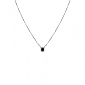 Collier Diamants noirs femme or blanc