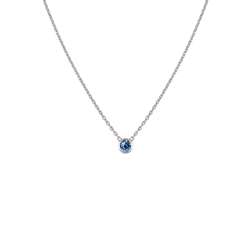 Collier Saphir bleu femme or blanc